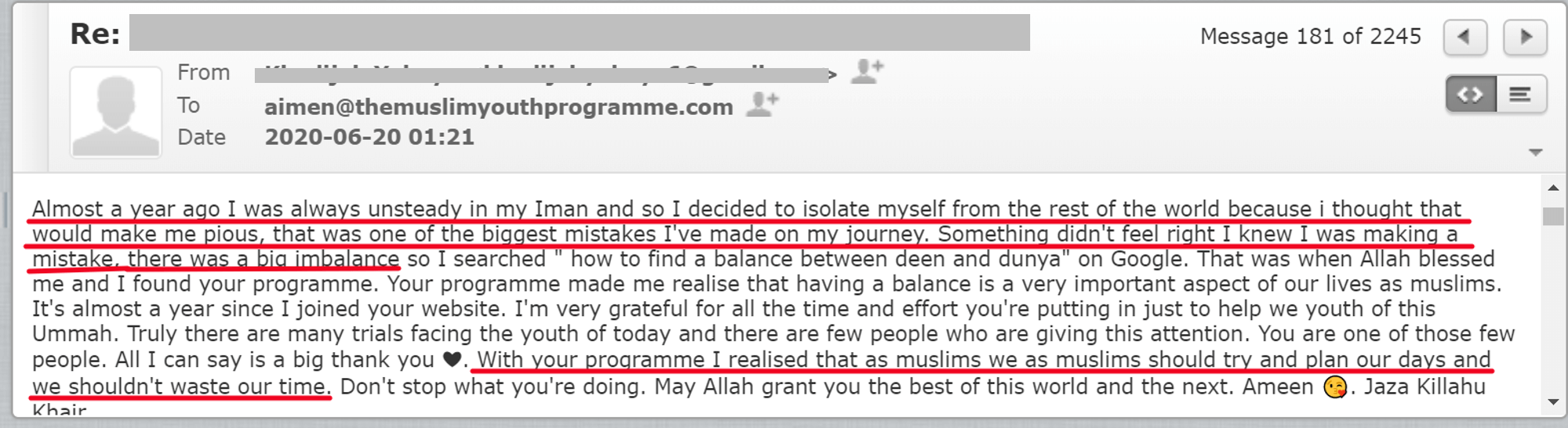 Balance deen and dunya
